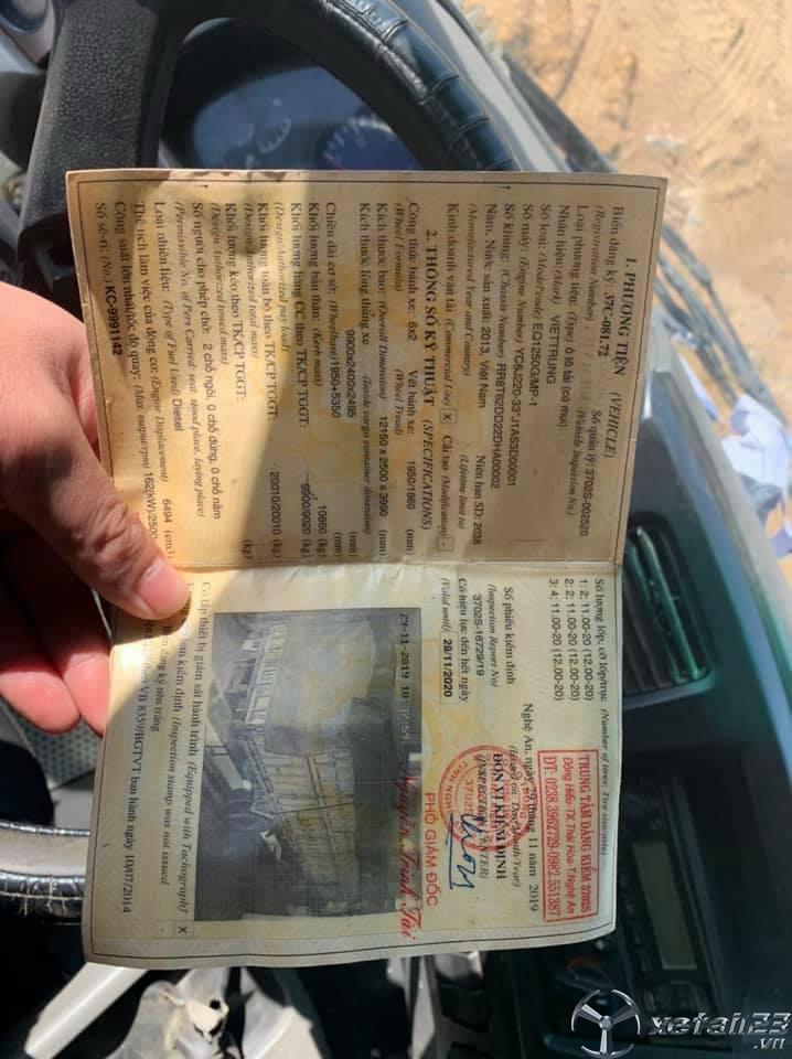 Thanh Lý gấp xe Việt Trung đời 2013 thùng mui bạt
