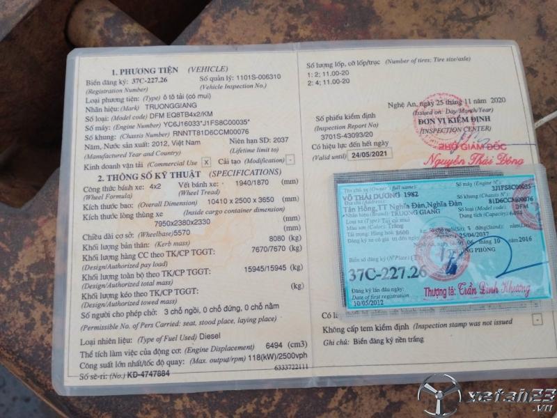 Xe Trường Giang 8 tấn đời 2012 thùng mui bạt cần bán giá rẻ nhất , sẵn xe giao ngay