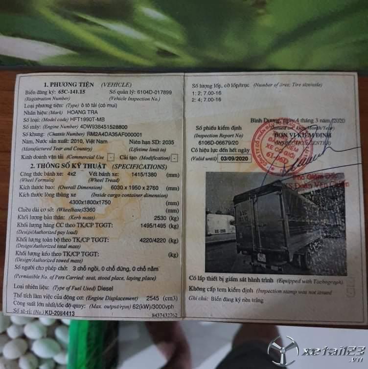 Cần bán xe Hoàng trà đời 2010 thùng mui bạt giá 85 triệu.Xe đẹp, sẵn giao ngay