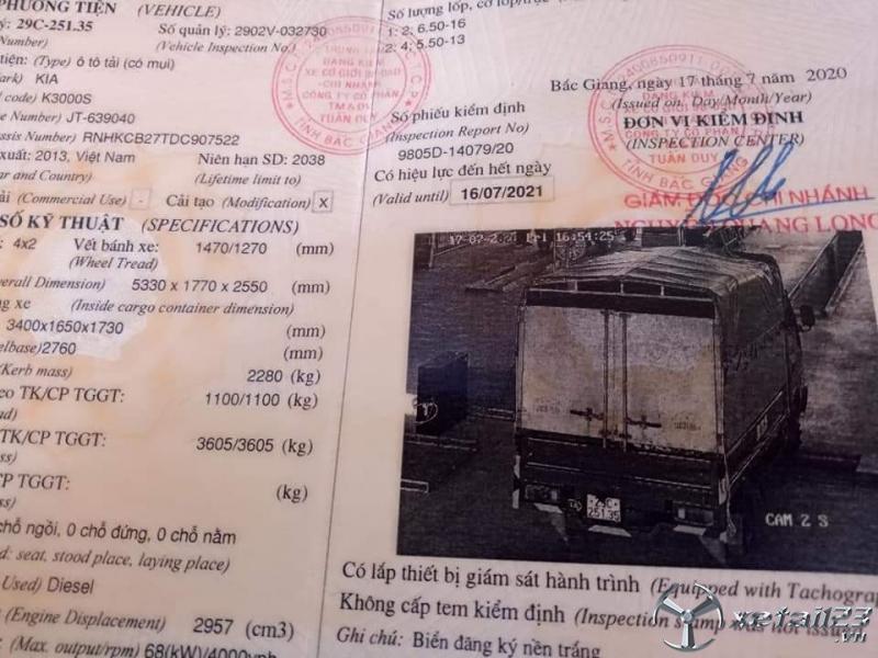 Cần bán Kia K3000S đời 2013 thùng mui bạt . Chỉ với 235 triệu nhận ngay xe đẹp