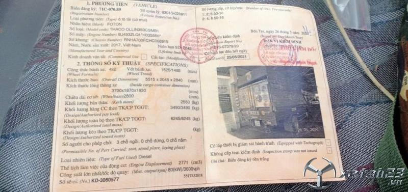 Bán Thaco ollin đời 2017 thùng mui bạt , giá 235 triệu có thương lượng