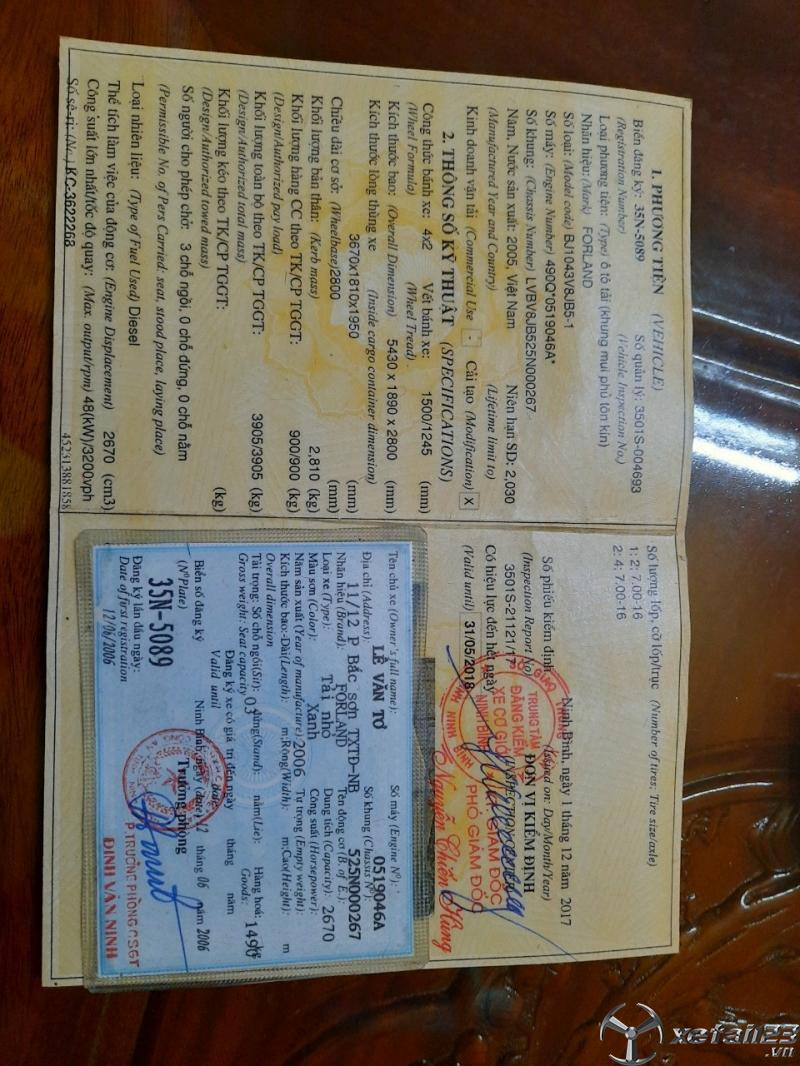 Cần bán gấp xe Thaco Forland đời 2005 thùng mui bạt giá tốt nhất