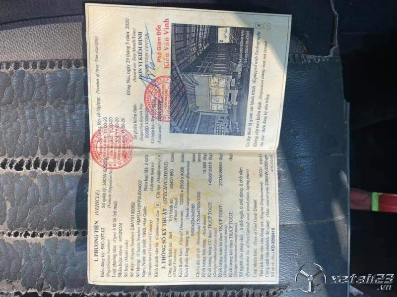 Thanh lý gấp xe Hyundai đời 1995 thùng mui bạt với giá 150 triệu
