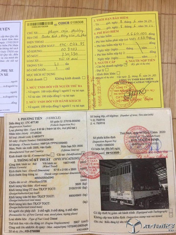 Thanh lý gấp xe Hyundai Mighty đời 2005 thùng mui bạt , giá 270 triệu