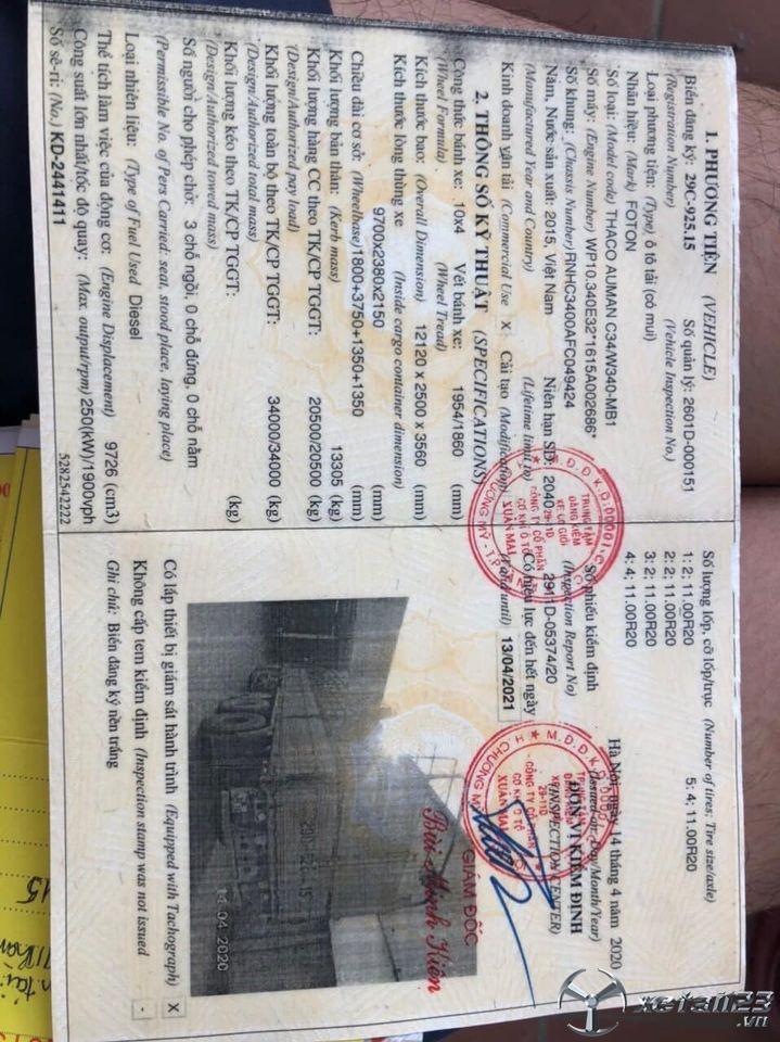 Bán Thaco Auman 5 chân đời 2015 thùng mui bạt, giá rẻ chỉ 840 triệu