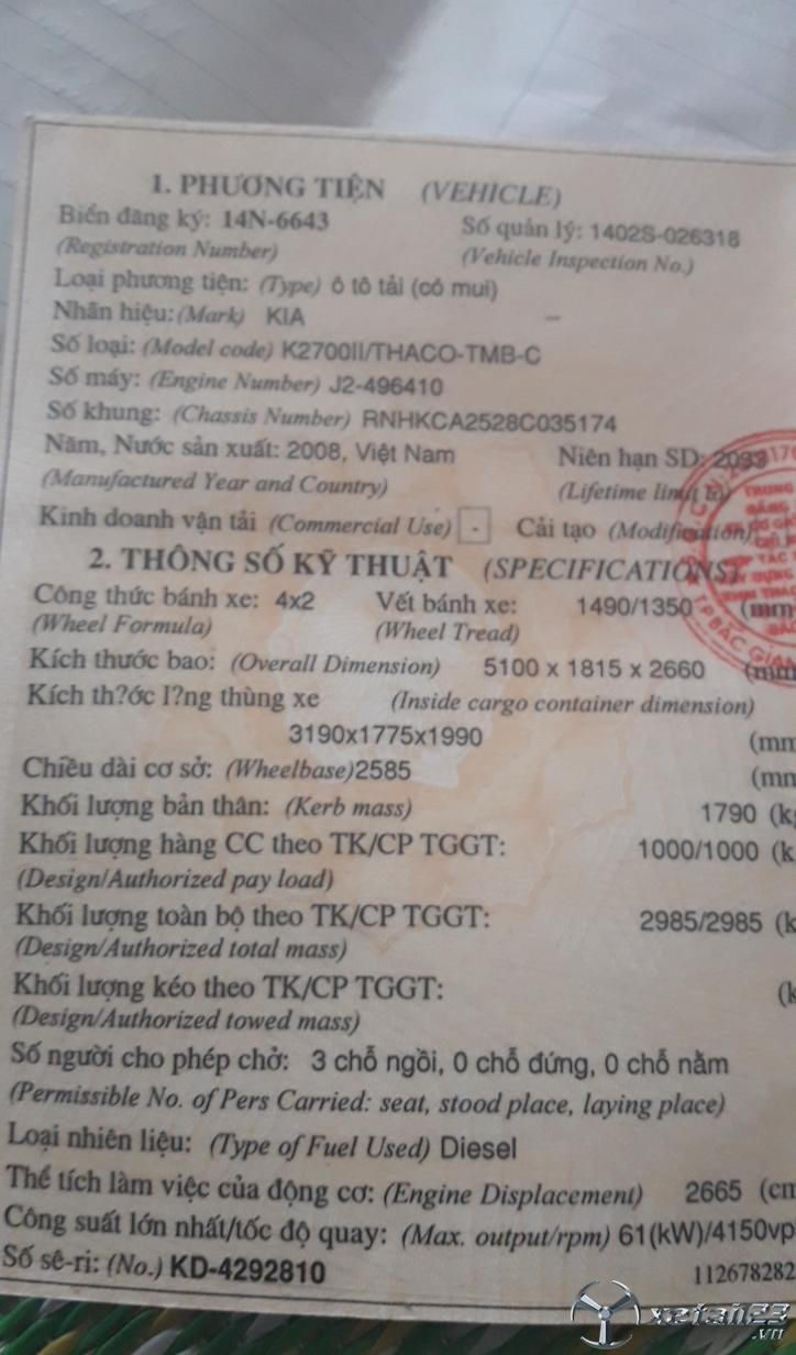 Thanh lý gấp xe Kia K2700II đời 2008 thùng mui bạt giá siêu rẻ chỉ 130 triệu