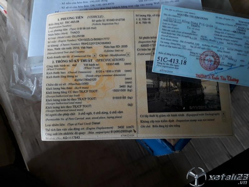 Thanh lý xe Thaco Ollin 198 đời 2010 thùng mui bạt giá rẻ