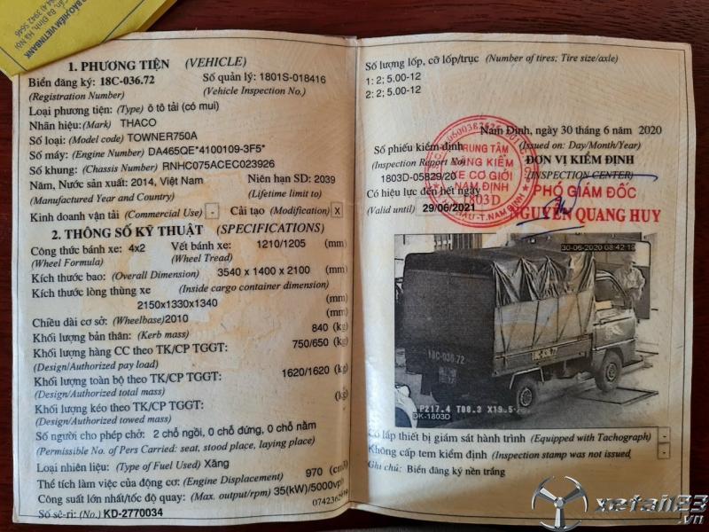 Xe Thaco Towner 750 Kg sản xuất năm 2014 thùng mui bạt cần bán với giá chỉ 95 triệu
