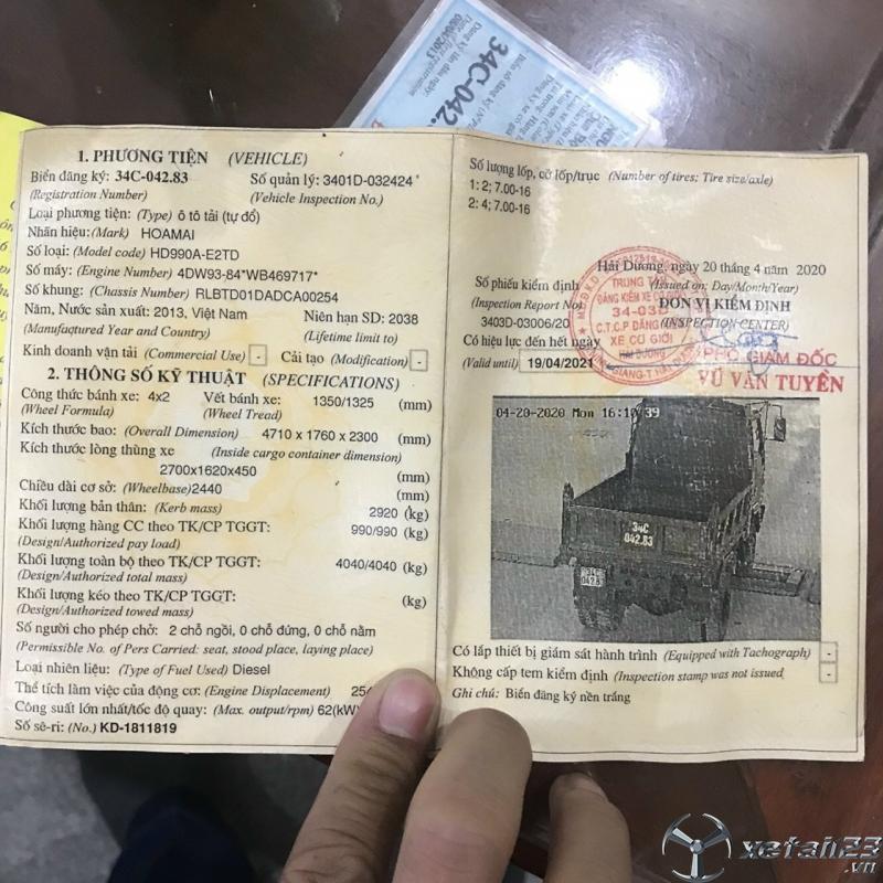 Cần bán xe ben Hoa Mai 990Kg đời 2013