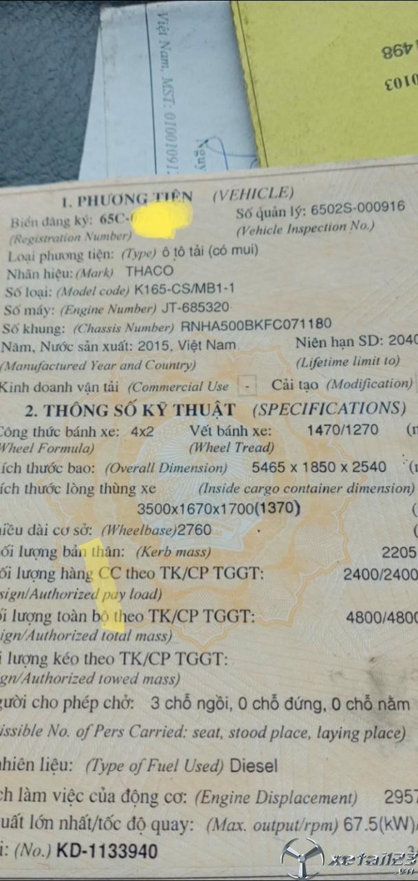 Bán Thaco K165 đời 2015 thùng mui bạt giá công khai 265 triệu