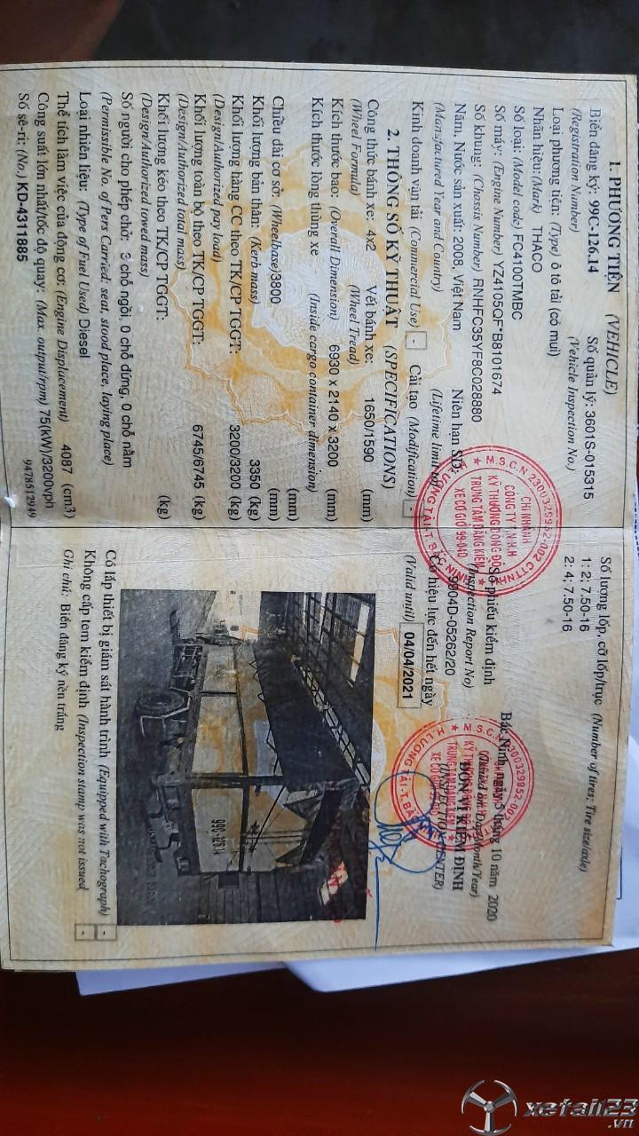 Xe Thaco FC 3,2 tấn đời 2008 thùng mui bạt đã qua sử dụng cần bán giá rẻ nhất