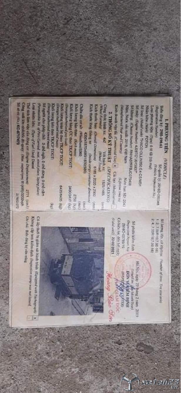 Xe thaco Ollin 350 đời 2018 , đăng kí 2019 thùng mui bạt đã qua sử dụng giá chỉ 310 triệu