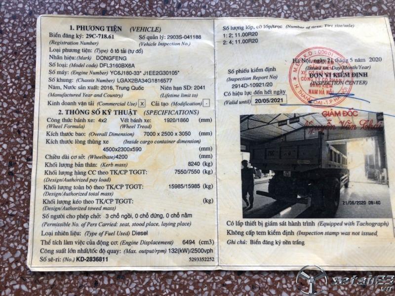 Rao bán xe Ben Dongfeng Hoàng Huy sx 2016 giá 650 triệu