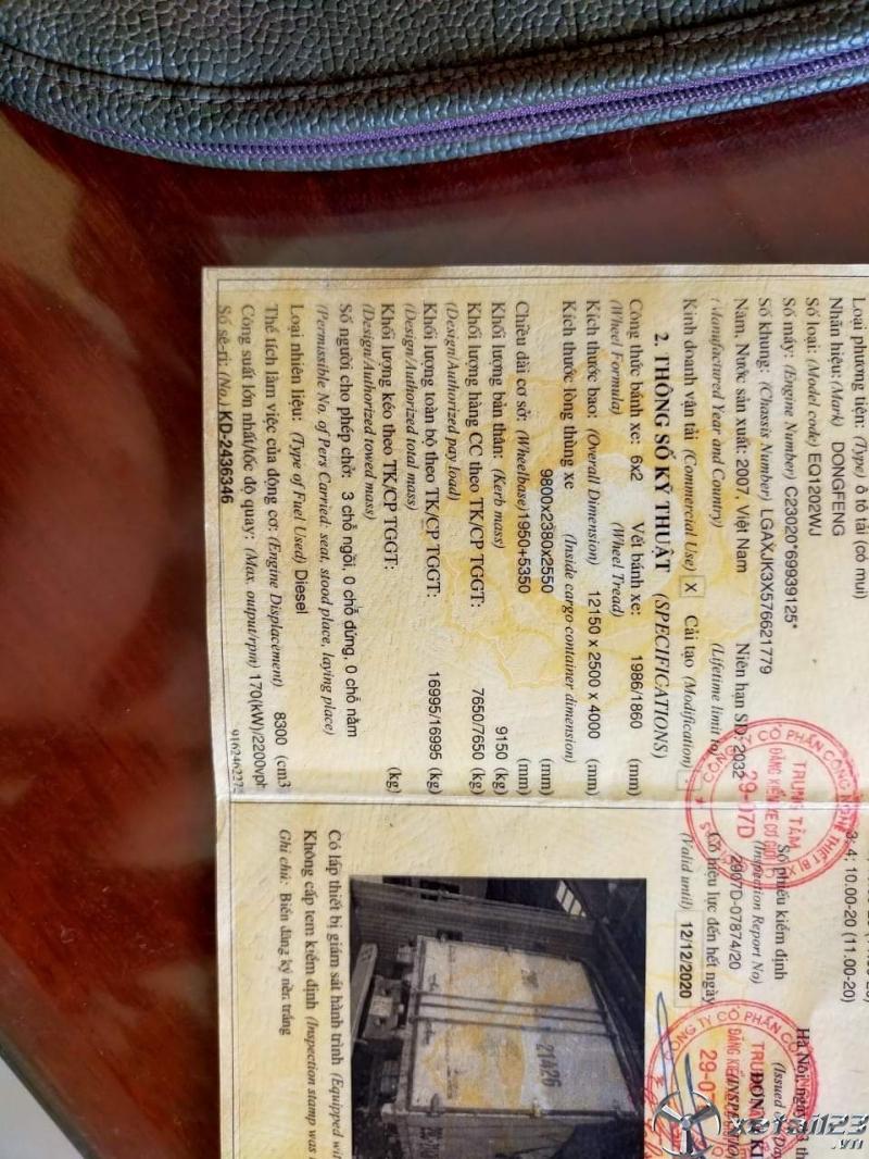 Xe Dongfeng đời 2007 thùng mui bạt đã qua sử dụng giá 351 triệu , còn thương lượng