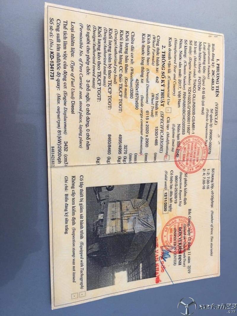 Rao bán xe Thaco Auman đời 2017 thùng mui bạt , giá 265 triệu sẵn xe giao ngay