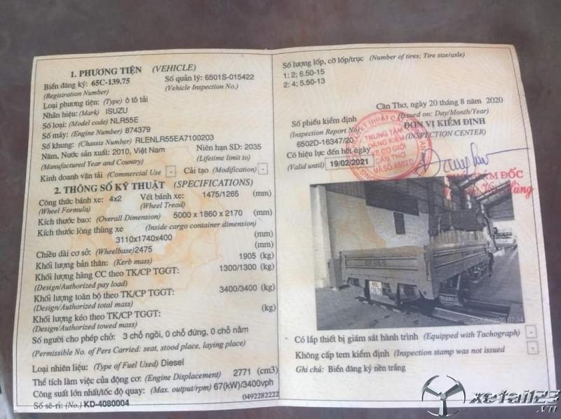 Rao bán xe Isuzu thùng lửng sx năm 2010 với giá chỉ 215 triệu