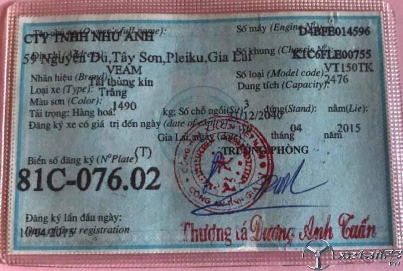 Bán Veam sx 2015 thùng kín , giá công khai 185 triệu