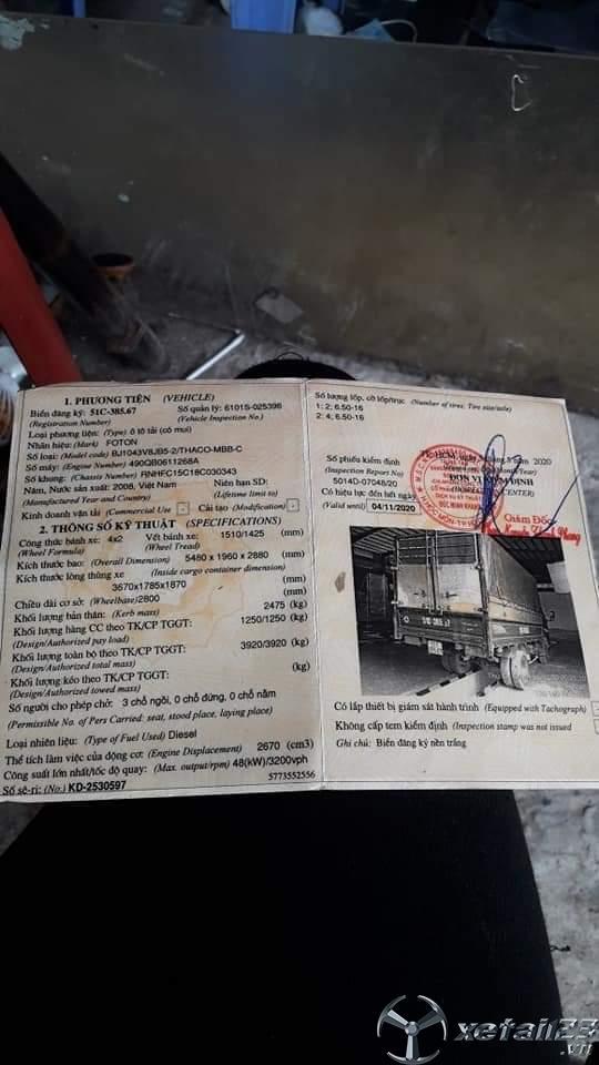 Thanh lý gấp xe Foton đời 2008 thùng mui bạt giá 80 triệu , sẵn xe giao ngay